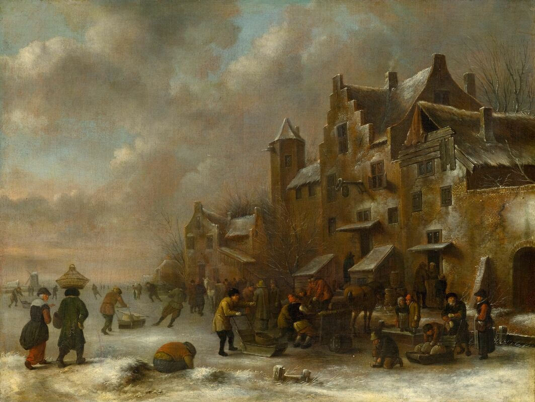 CLAES MOLENAER Klaes Molenaer Winter Landscape with Figures skating on Ice outside a Town snow sled seventeenth century for sale
